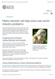 Maths network will help solve real-world industry problems | University of Bath